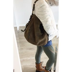 COACH Vintage Large Carly Hobo Tan Suede Leather